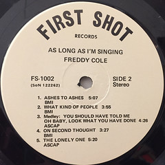 FREDDY COLE:AS LONG AS I'M SINGING(LABEL SIDE-B)