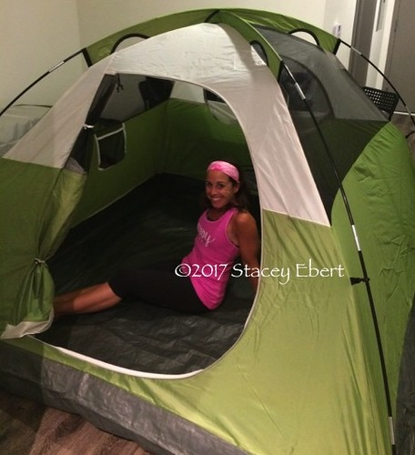 trying out the new tent at home. From Adventures in Camping