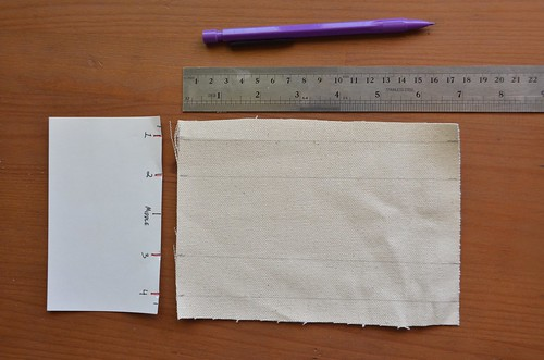 """4. Cut a piece of canvas: (height-of-card-stack + 4"""") X height-of-smallest-card"""