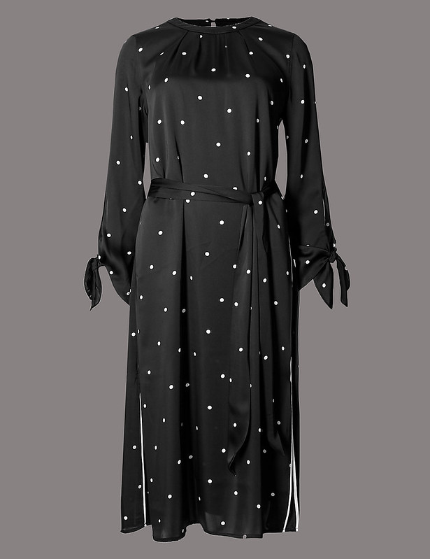 M&S spotted long sleeve tunic dress