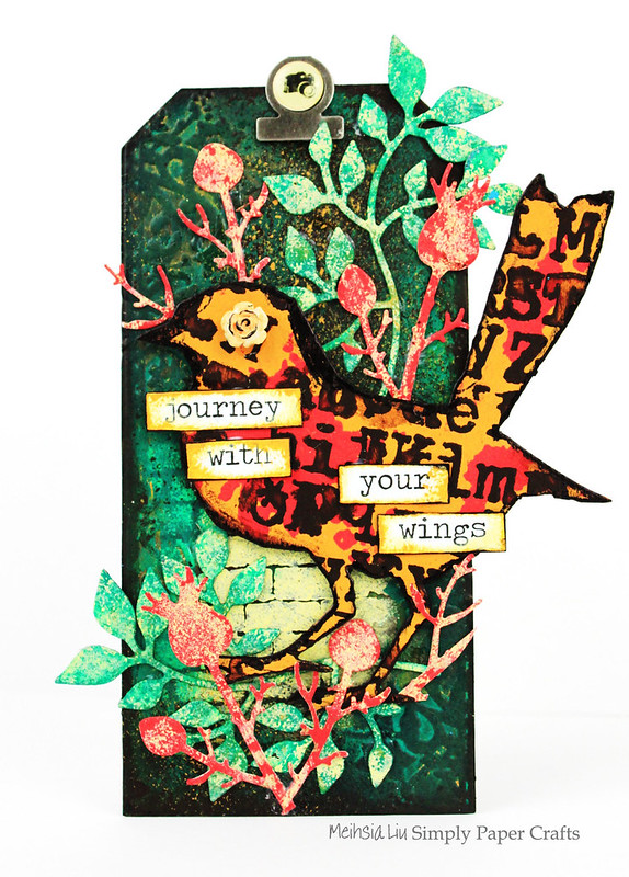 Meihsia Liu Simply Paper Crafts mixed media tag Simon Says Stamp Tim Holtz Paper Artsy Bird Outdoor Leaves