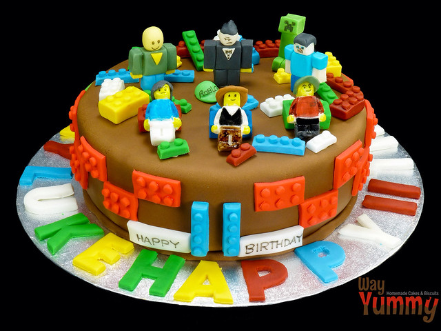 Lego Meets Minecraft Meets Roblox Cake