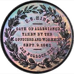 1861 U.S. Mint Oath of Allegiance Medal reverse