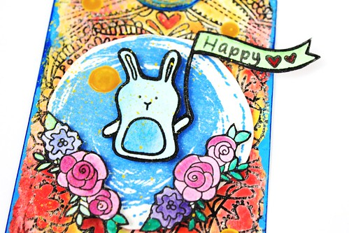 Meihsia Liu Simply Paper Crafts Mixed Media Tag Birthday Rabbit Simon Says Stamp Tim Holtz 4
