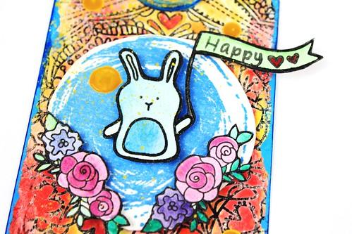 Meihsia Liu Simply Paper Crafts Mixed Media Tag Birthday Rabbit Simon Says Stamp Tim Holtz 4