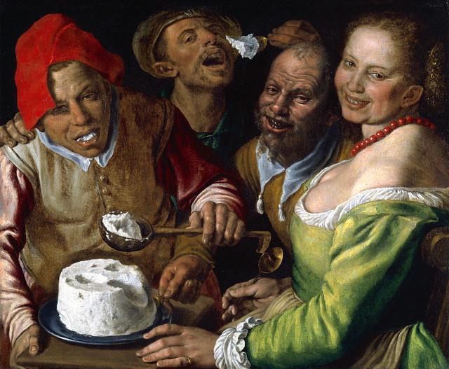 """Vincenzo Campi (1530 - 1591) """"Die Ricotta-Esser"""" ... Ricotta-Käse, angemacht mit Olivenöl, Knoblauch, Kräutern ... zu Wildlachs und Kartoffeln ... Rezept nachempfunden von Brigitte Stolle"""