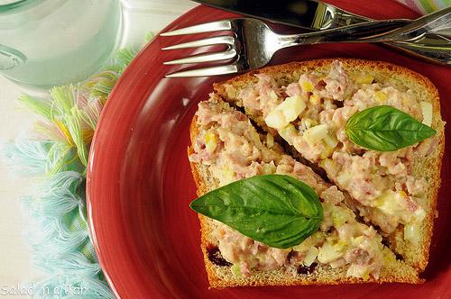 Ham Salad Sandwich Spread with a Basil Twist