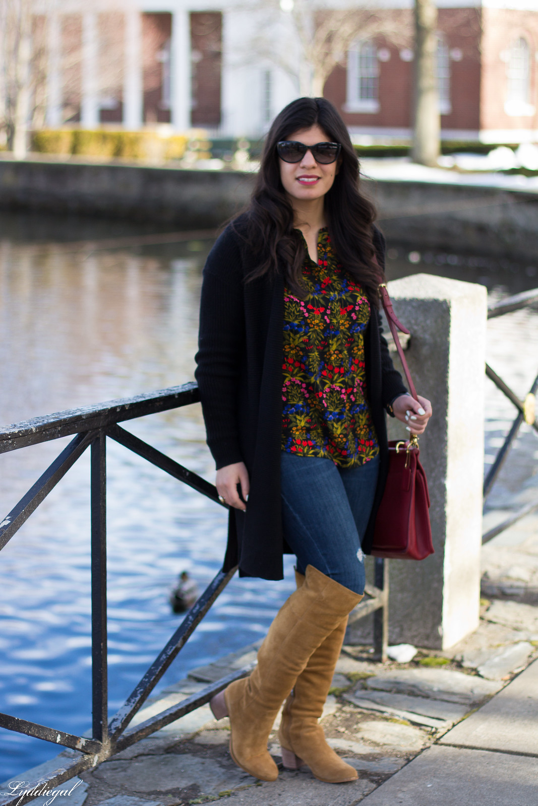 dark floral print blouse, long black cardigan, over the knee boots-5.jpg