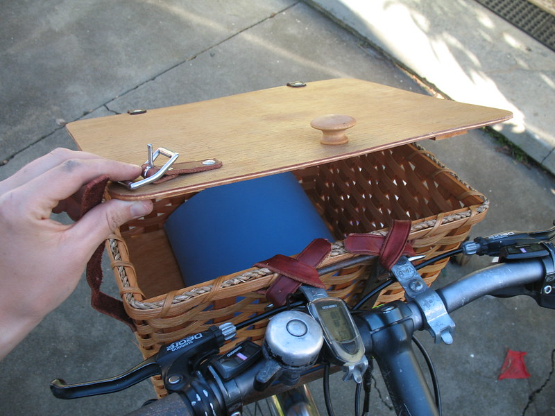 Left-handed bike basket