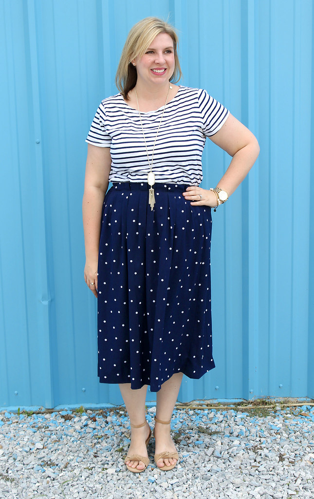polka dot midi and breton tee 3