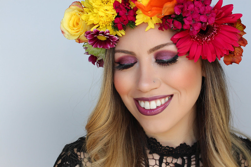 Easy Metallic Purple and Pink Festival Style Makeup Tutorial Flower Crown Coachella