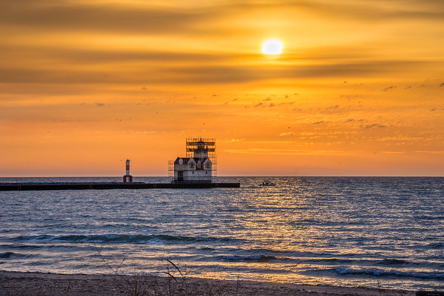 Lighthouse, Kewaunee, Lake Michigan, Sunrise, Scaffolding