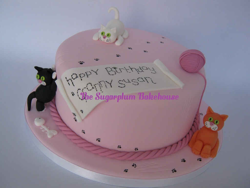 TheSugarplumBakehouse Cat Themed Birthday Cake And Cupcakes