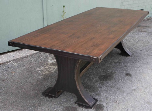 Vintage machine lathe metal dining table reclaimed wood to for Reclaimed wood furniture los angeles