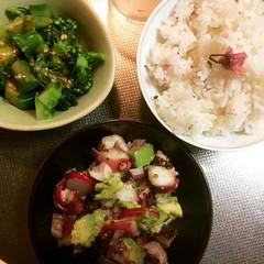 broccoli goma-ae, tako avo poke & sakura gohan❤︎  #broccoli #tako #avocado #poke #sakura #rice #gomaae #osaka #japan #ブロッコリー #胡麻和え #タコ #アボカド #ポケ #桜ごはん #大阪