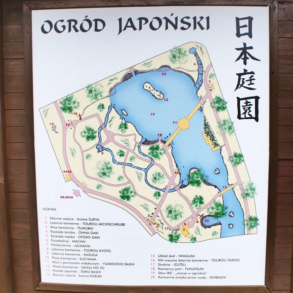 Plan du jardin japonais de Wroclaw.