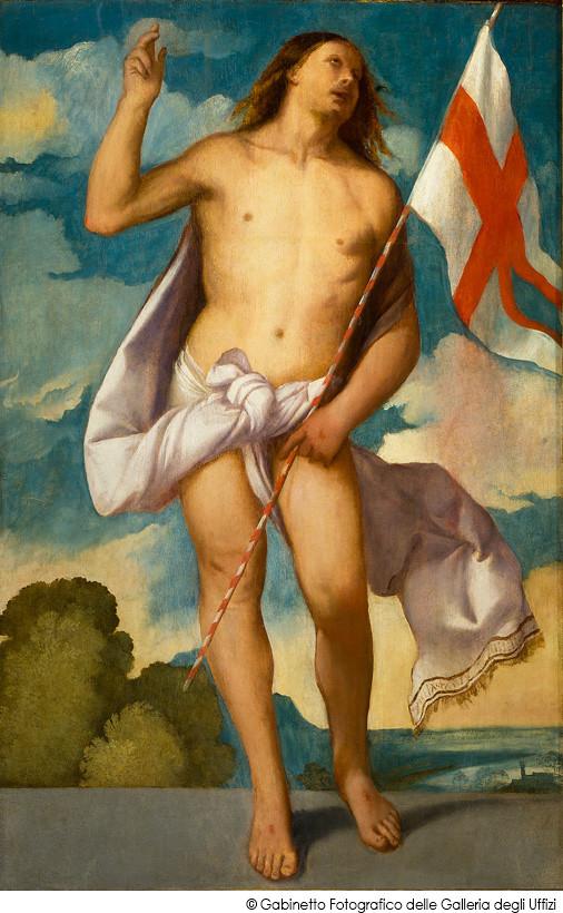 ティツィアーノ・ヴェチェッリオ《復活のキリスト》(1510-12年、フィレンツェ・ウフィツィ美術館蔵)
