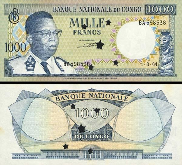 1000 Frankov Kongo 1964, P8aP UNC perforovaná