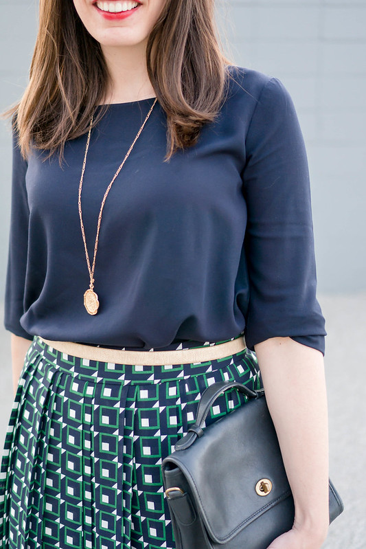 j.crew shadowbox skirt + navy uniqlo blouse + gold coin necklace + navy ferragamo vara heels; spring work outfit | Style On Target blog