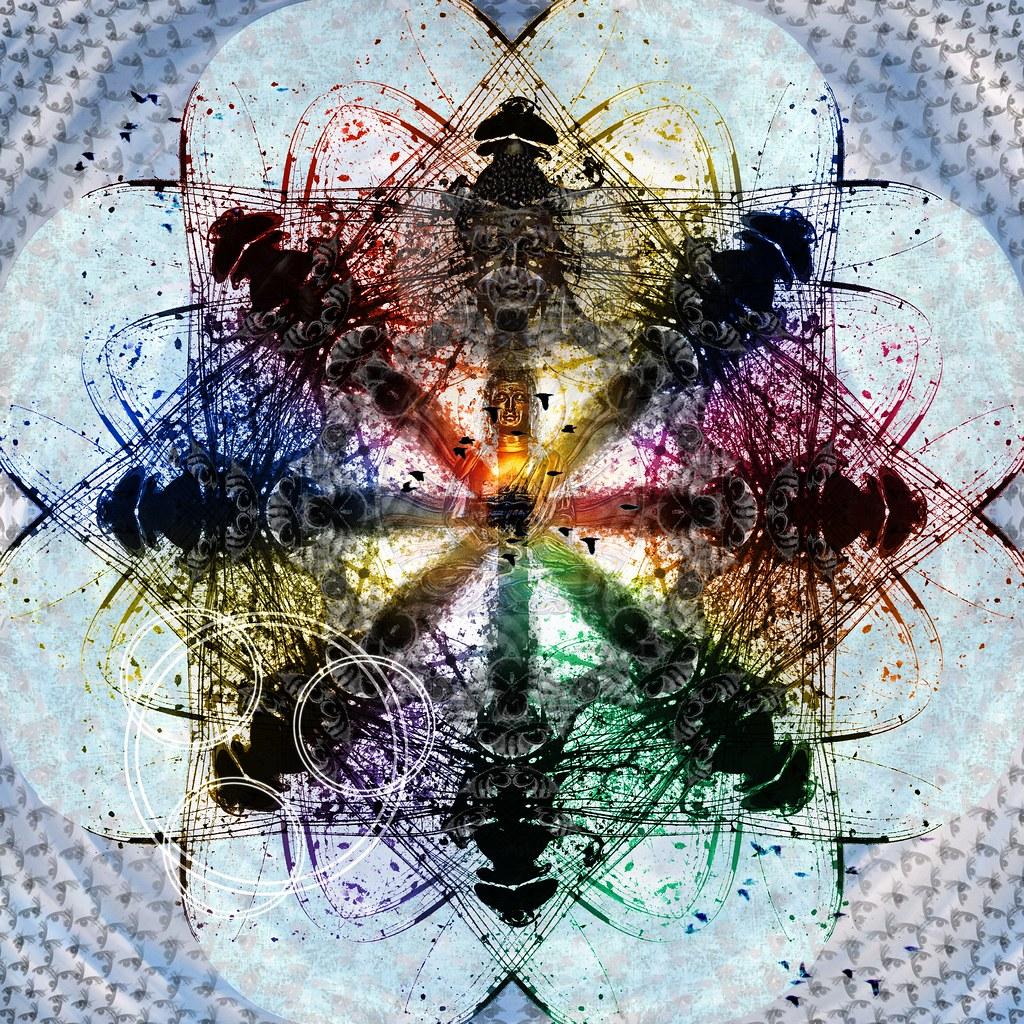 Atomic Cosmic Dragonfly Lotus Mandala Full
