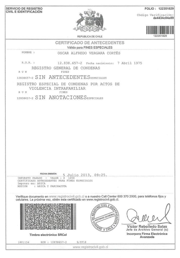 Certificado de Antecedentes Julio 2013 | oavergara | Flickr