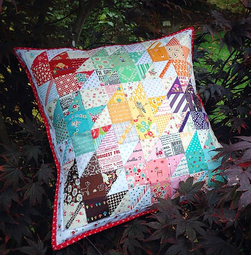 a scrappy maples pillow | by sewdeerlyloved