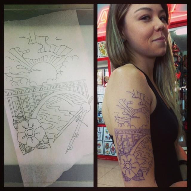 Bridge building by mr dean williams of elm street tattoo for Elm street tattoo