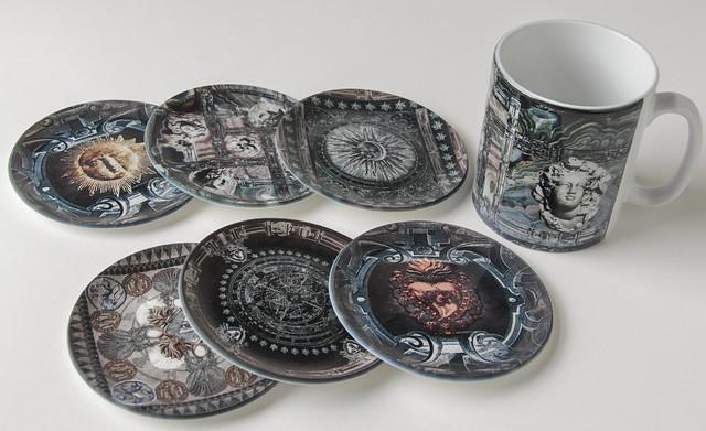 Round coasters and mug
