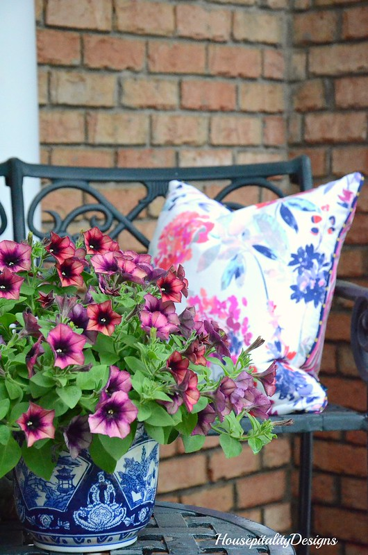 Purple Petunias-Blue and White Bowl-Spring Porch 2017-Housepitality Designs