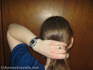 Gather the hair into a low ponytail when making a French Twist with Ponytail - 12 pretty & practical hiking hairstyles
