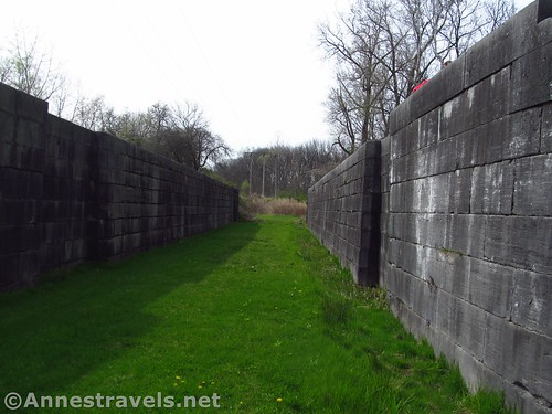 Walking through the west-bound lock chamber at Lock 60 Historic Site near Macedon and Palmyra, New York