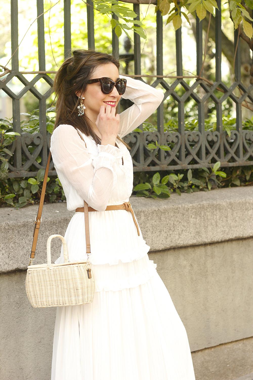 white maxi dress Subtle golden stripes wicker bag sandals céline sunnies spring outfit 08