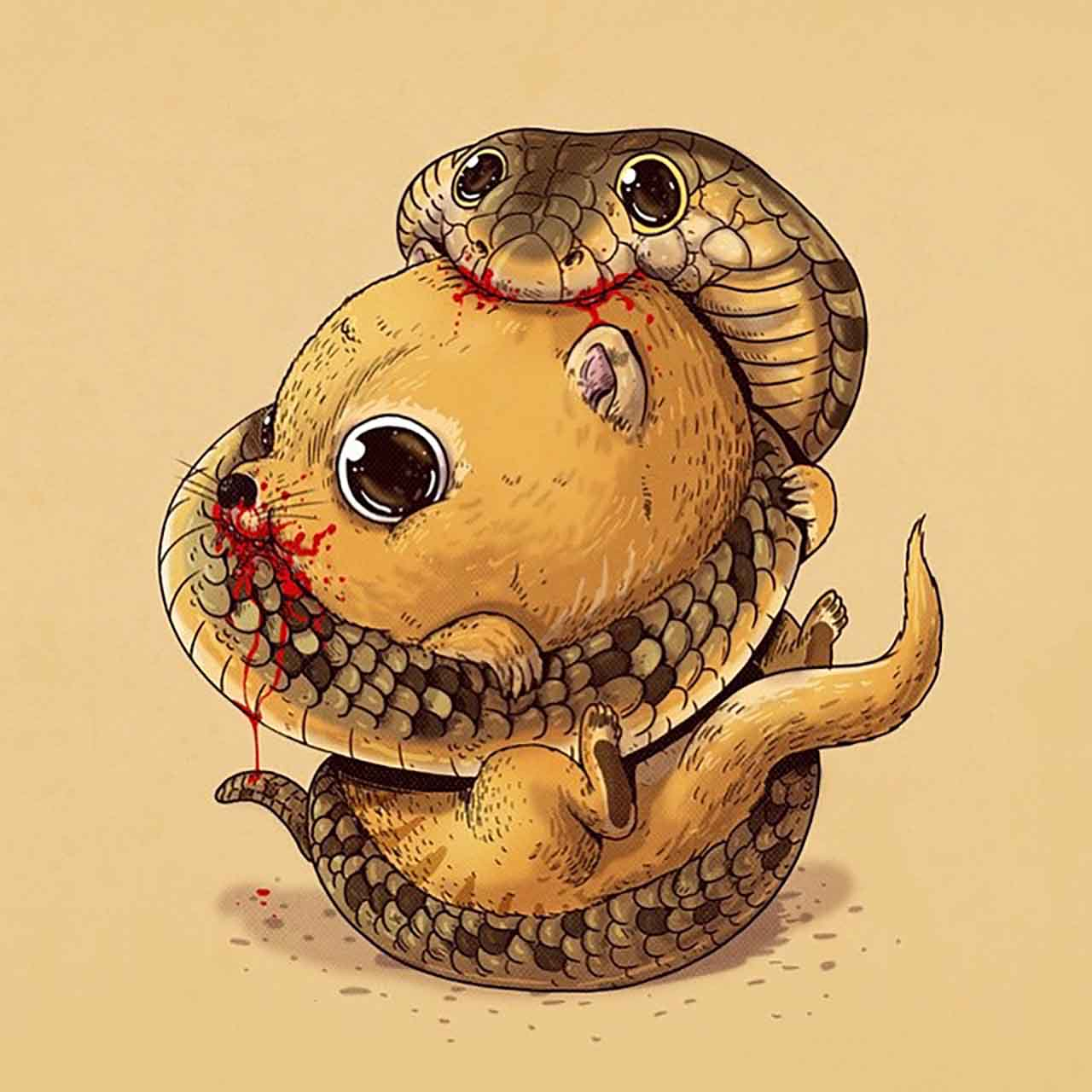 "Artist Creates Extremely Adorable ""Predator & Prey"" Illustrations #12: Mongoose & Cobra"