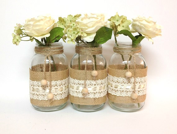 Burlap lace mason jar wedding or home decor flickr Home decoration with jute