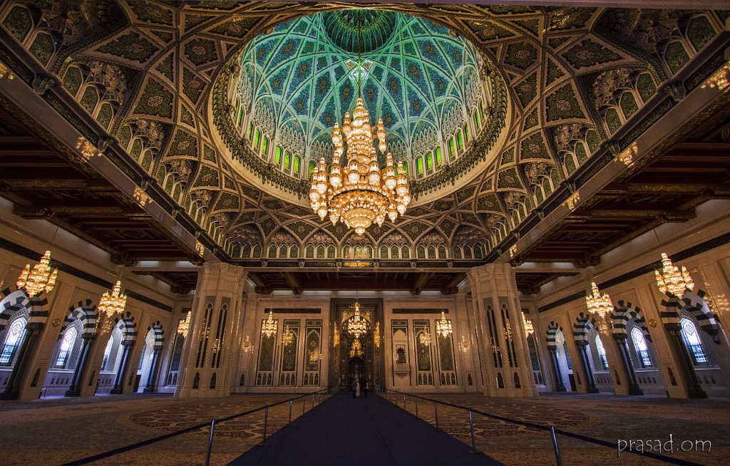 Sultan Qaboos Grand Mosque Oman The Chandelier Above