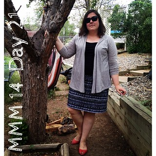 #mmm14 #memademay day 21! I whipped up this self drafted knit skirt last night, all else rtw. | by thegreenviolet