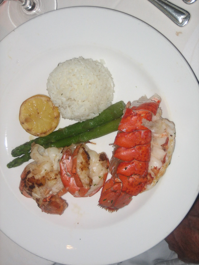 Broiled lobster tail and king prawns with lemon butter fon…   Flickr