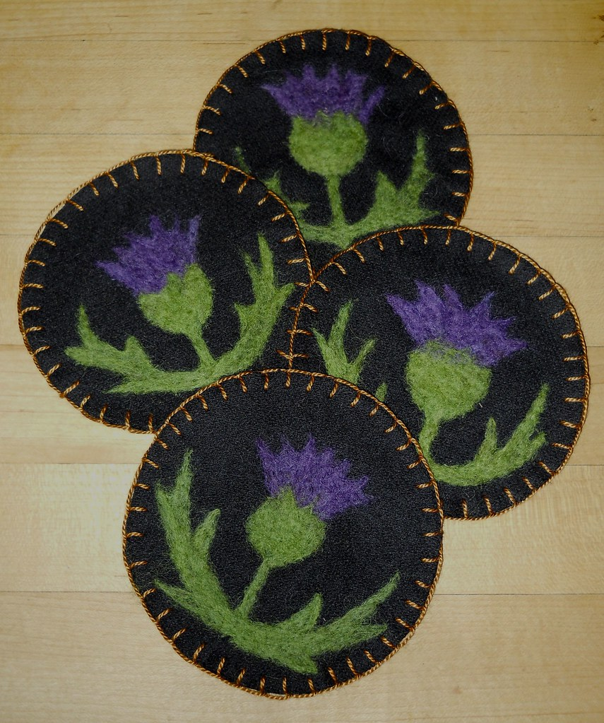 Needle Felted Thistle Coasters Hand Dyed Wools From Our