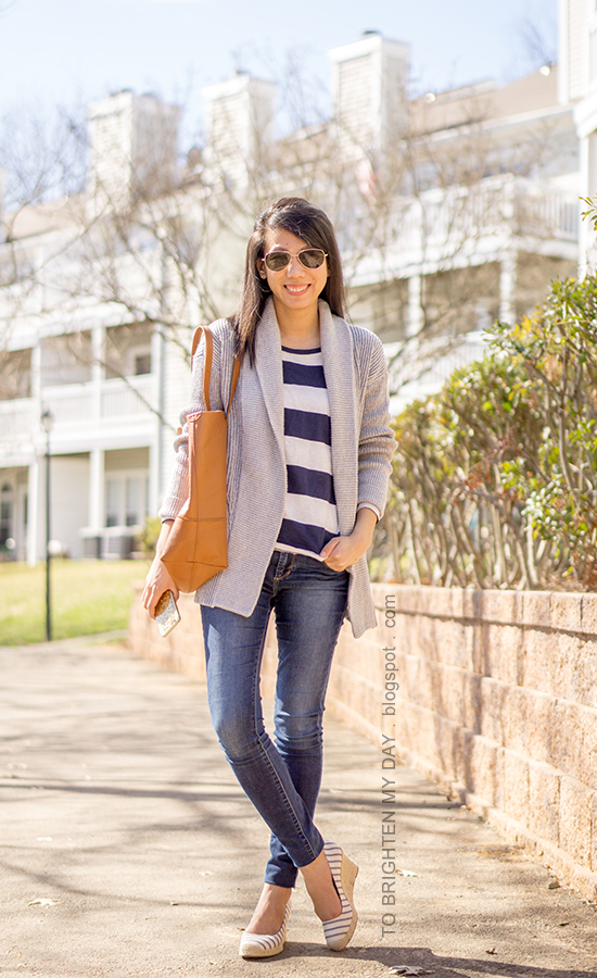 gray mixed rib coatigan, rugby striped top, cognac brown tote, skinny jeans, striped espadrille wedges