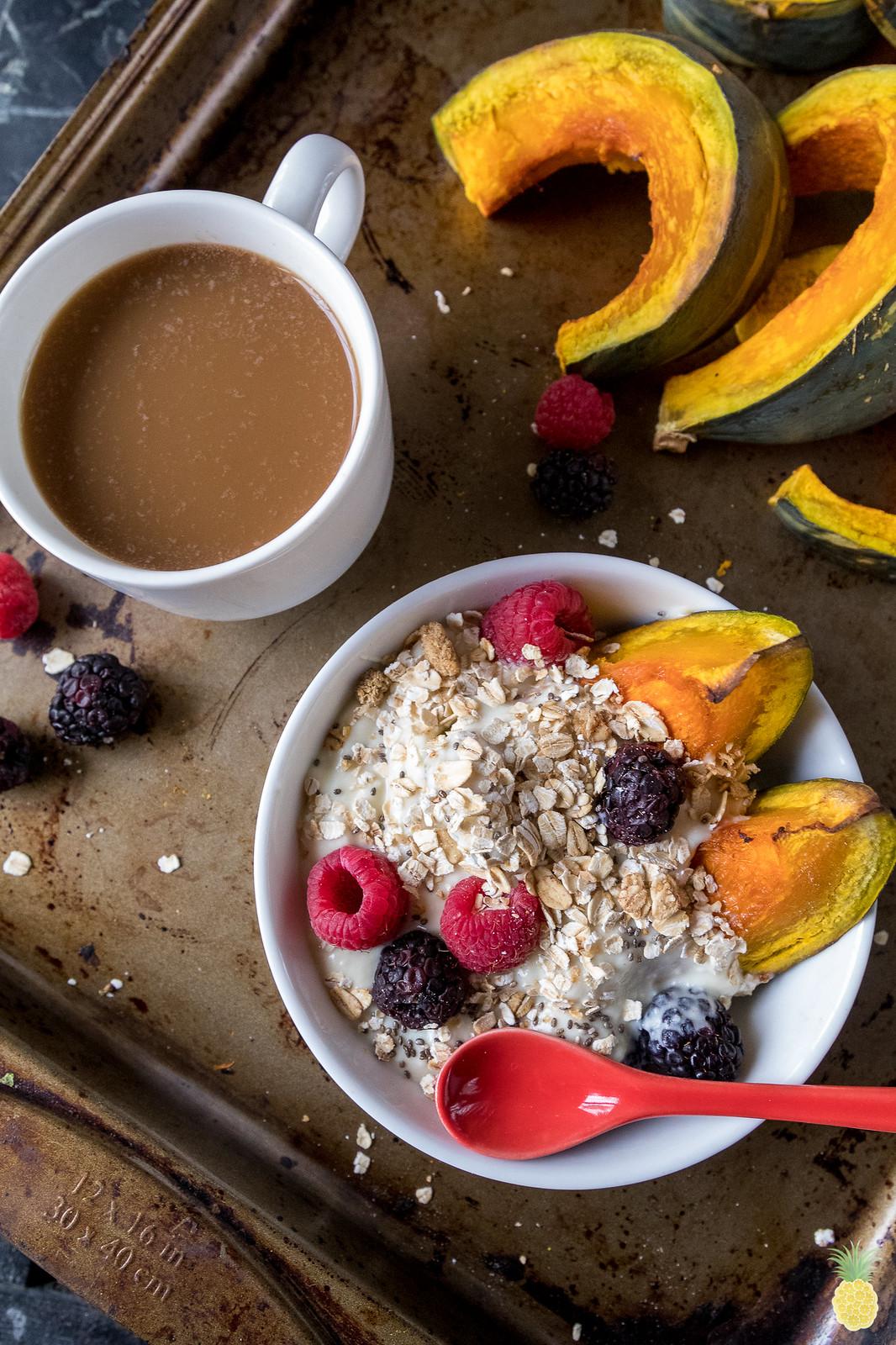 Roasted Kabocha Squash Granola & Yogurt Breakfast Bowls sweetsimplevegan.com