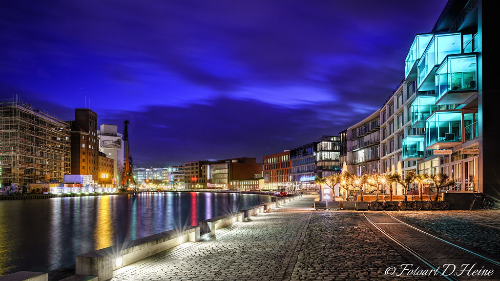 m nster hafen bei nacht this picture shows the harbor area flickr. Black Bedroom Furniture Sets. Home Design Ideas