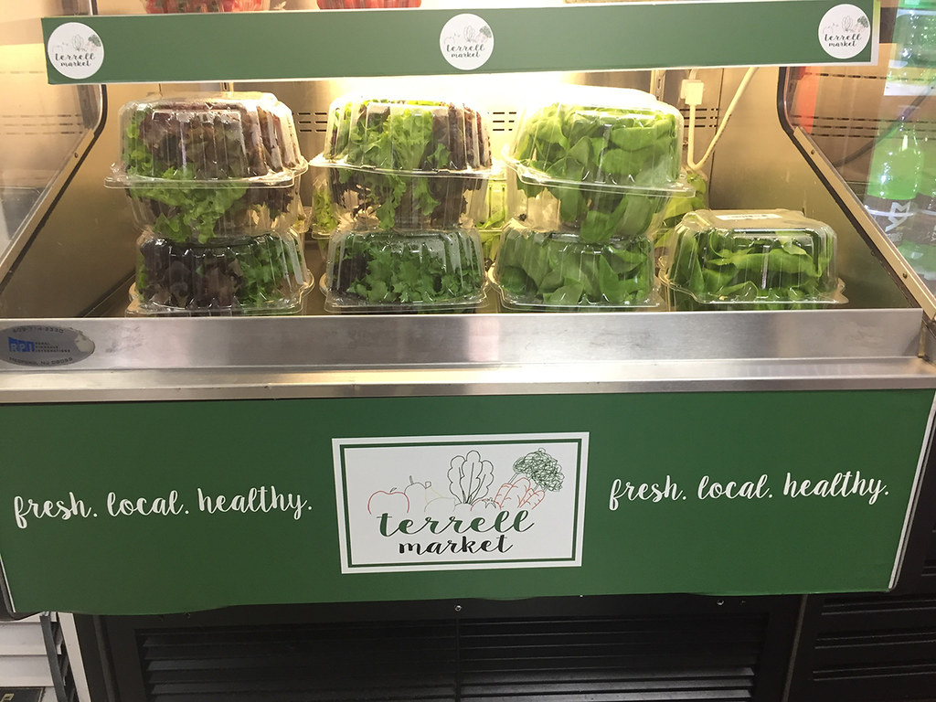 Clear boxes of salad sitting in a cooler.