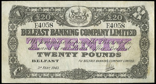 Northern Ireland Belfast Banking Co Twenty Pounds banknote