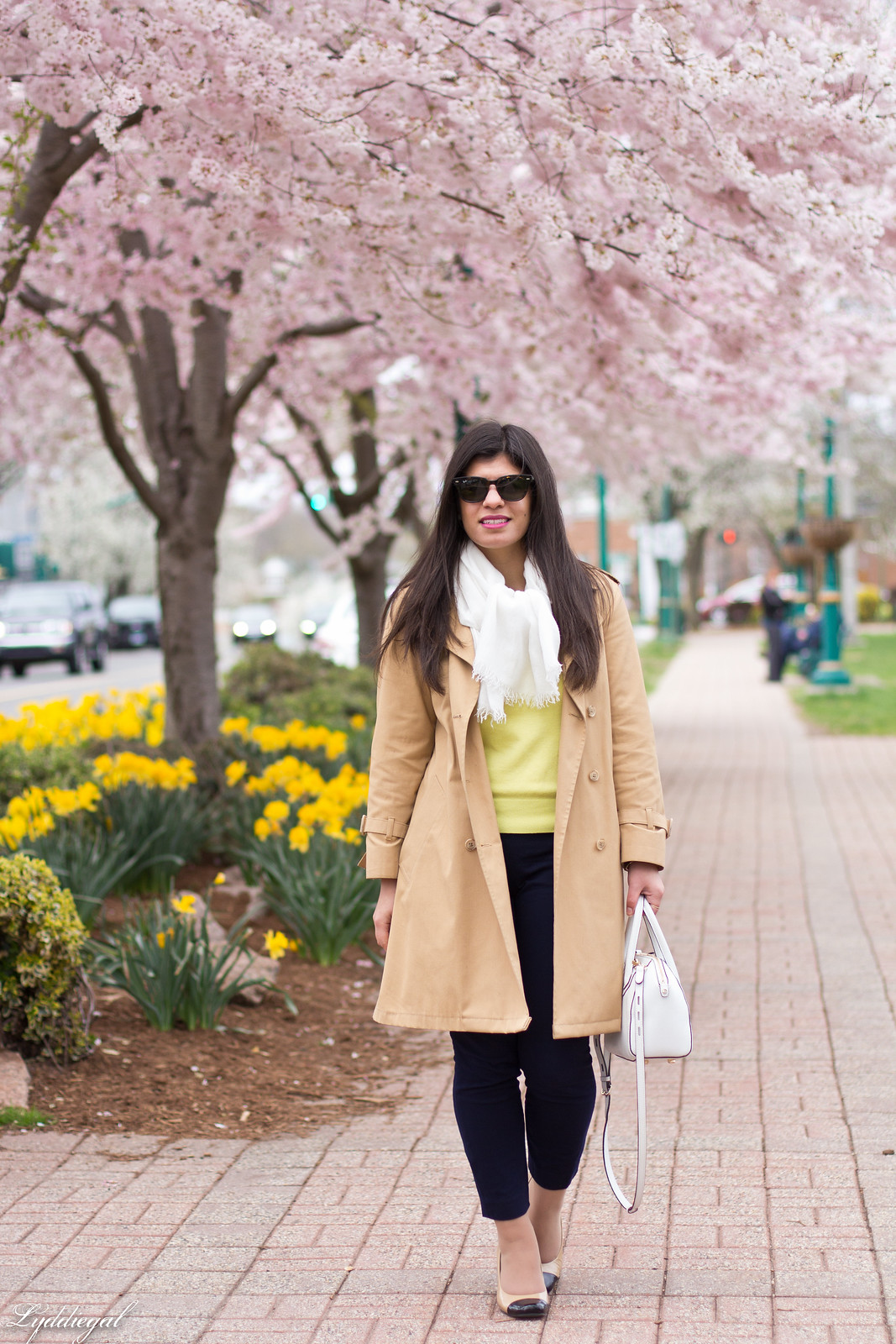 yellow sweater, navy pants, trench coat, toe cap pumps-4.jpg