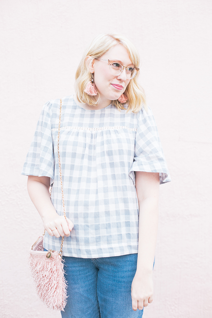 austin fashion blog gingham bell sleeves and blush10