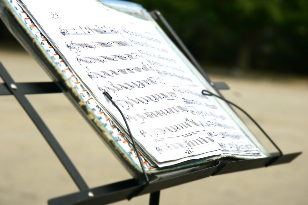 photo of sheet music on music stand