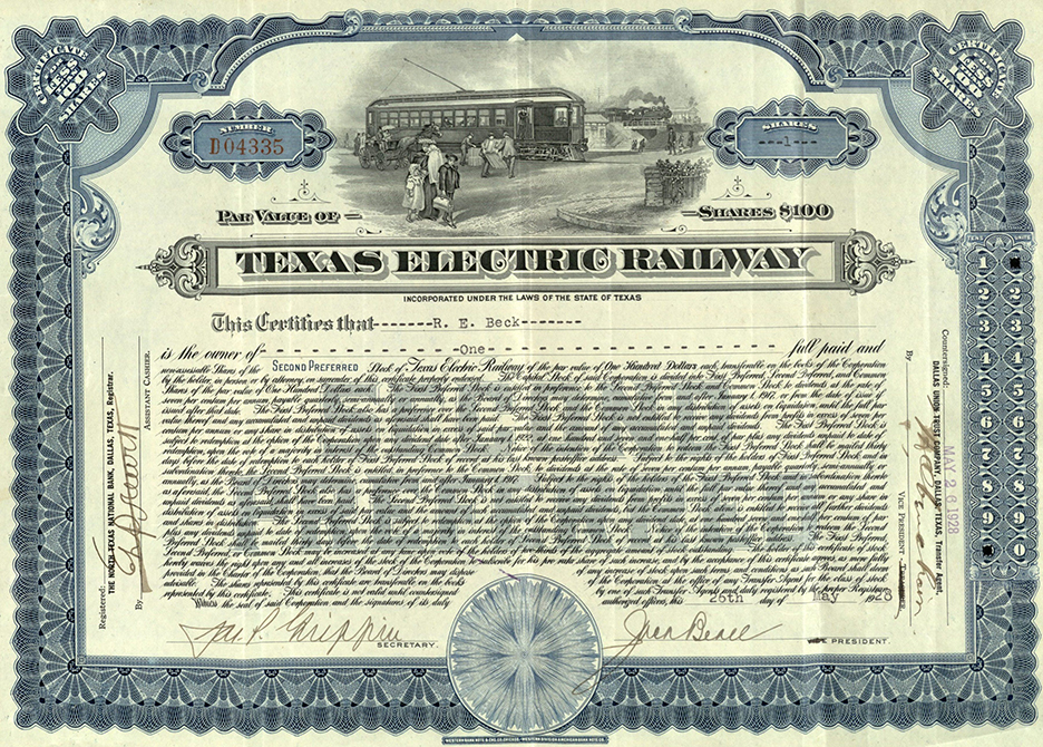 Texas Electric Railway stock certificate, 1928