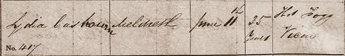 Lydia C Burial 1851 Meldreth