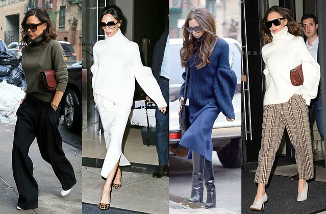 Victoria-Beckham-dressed-in-Oversized-Turtleneck-knit-with-midi-length-skirts-and-wide-leg-trousers-cropped-trousers