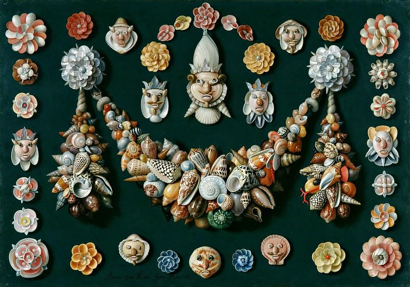 Jan van Kessel the Elder - Festoon, masks and rosettes made of shells
